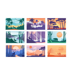 collection beautiful scene nature peaceful vector image