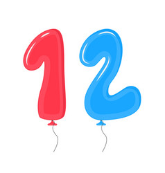 Color balloons with numbers twelve decoration vector
