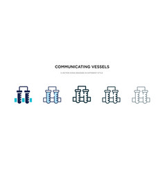 Communicating vessels icon in different style vector