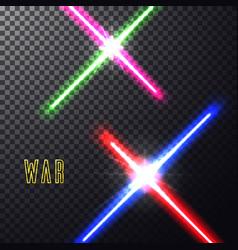 Crossed light swords vector
