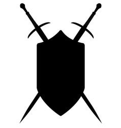 crossed swords silhouette vector image