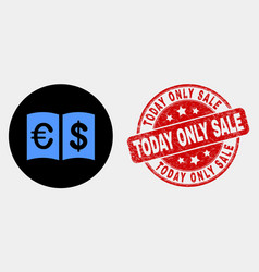 currency handbook icon and distress today vector image