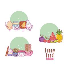 Cute and funny food kawaii cartoons vector