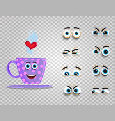Cute emoji set of lilac cup with changeable eyes vector
