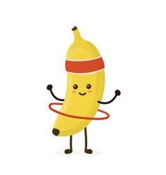 cute smiling happy strong banana vector image
