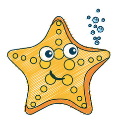 Cute starfish character icon vector