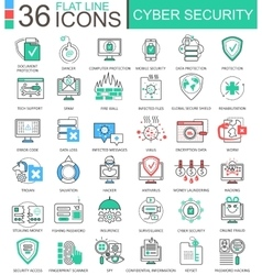 Cyber security modern color flat line vector image