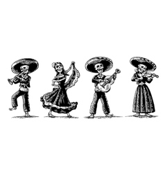day dead the skeleton in mexican national vector image