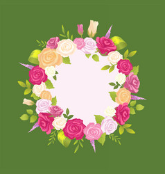 decorative wreath made gentle rose flowers vector image