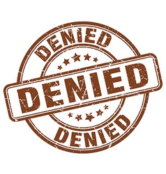 Denied brown grunge round vintage rubber stamp vector