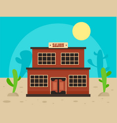 Desert saloon concept background flat style vector