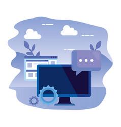 Desktop computer with gears and speech bubble vector