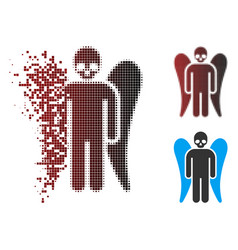 Destructed pixel halftone death angel icon vector