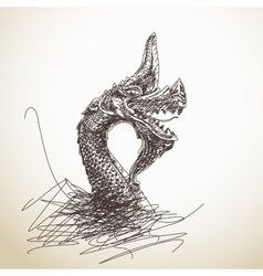 Dragon statue vector