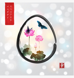 Easter card in japanese style pink lotus flowers vector