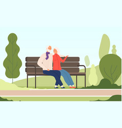 elderly couple park seniors happy grandfather vector image