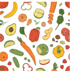 elegant seamless pattern with healthy nutrition vector image