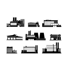 Factory manufacturing plant and warehouse black vector