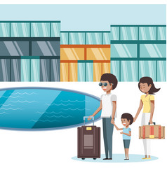 Family vacations in pool travel ilustration vector