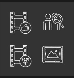 Film industry chalk icons set vector