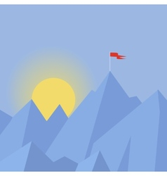 Flat design modern success concept with flag on vector
