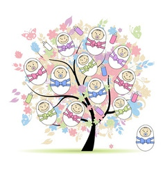 Floral tree with newborns for your design vector image
