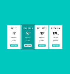 four tariffsinterface for site web design vector image