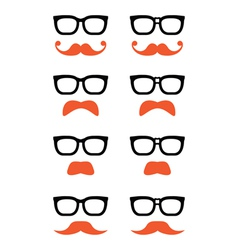 Geek glasses and ginger moustache or mustache icon vector