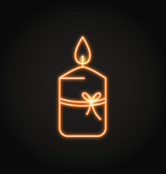 Gift candle icon in neon line style vector