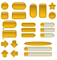 Gold glass buttons set vector