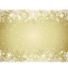 Golden background with frame of snowflakes vector