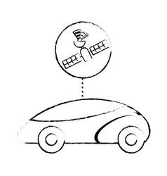 Gps navigation car autonomous satellite connection vector