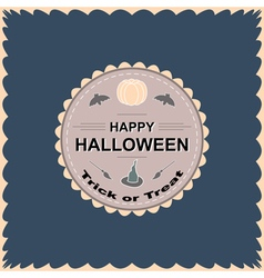 Halloween round circle logo sign with pumpkin vector