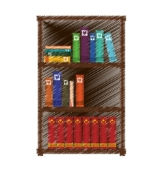 Hand drawing colored bookshelf home vector