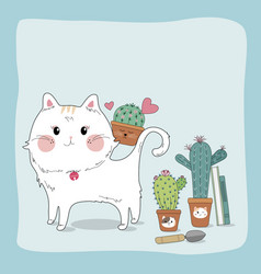 hand drawn sketch cute cat and cactus vector image