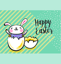 Happy easter greeting background with cute easter vector