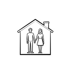 house with couple hand drawn outline doodle icon vector image
