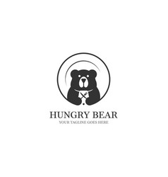 hungry bear logo designs with platen on the vector image