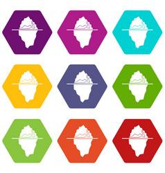 iceberg icon set color hexahedron vector image