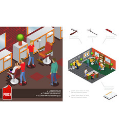 isometric trendy barber shop concept vector image