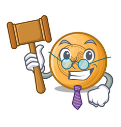 Judge lacrosse ball above wooden cartoon table vector