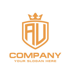 Letter au initial with shield and crown luxury lo vector