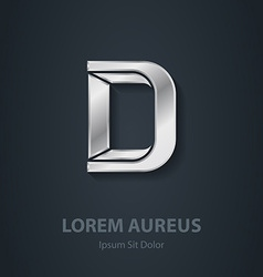 Letter D elegant silver font Template for company vector