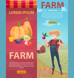 Light farming vertical banners vector
