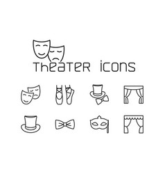 Line theater icons set on white background vector