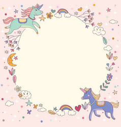 Magical rainbow unicorn wreath circle template vector