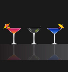 manhattan cocktail dry martini and blue lagoon vector image