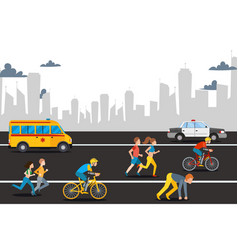 marathon athelete man on city road vector image