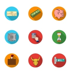 Money and finance set icons in flat style Big vector