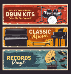 musical instruments and vinyl records shop banner vector image